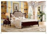 Высокое качество современный роскошный деревянный мебель кровати Устанавливает Дизайн, французский резьба кожа кровать King Размеры кроват