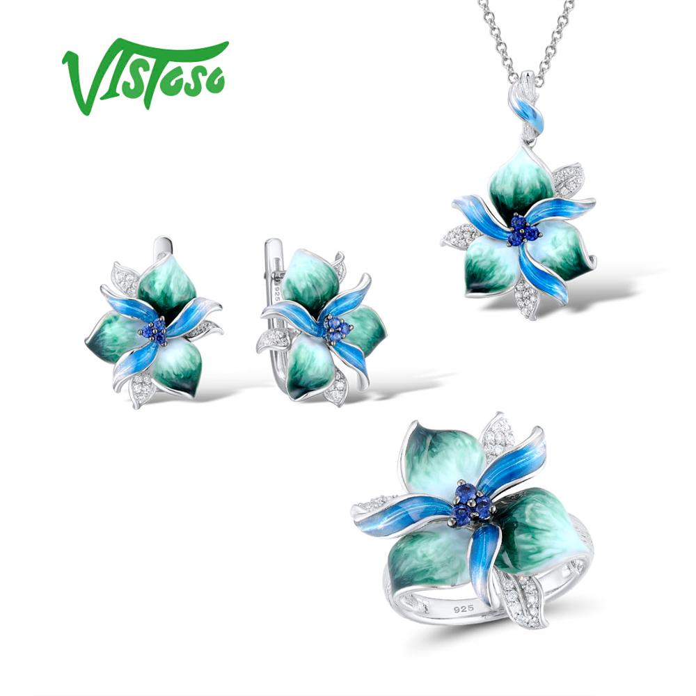 VISTOSO Jewelry Sets For Woman 925 Sterling Silver Elegant Blue Green Flower Earrings Pendant Ring Fine