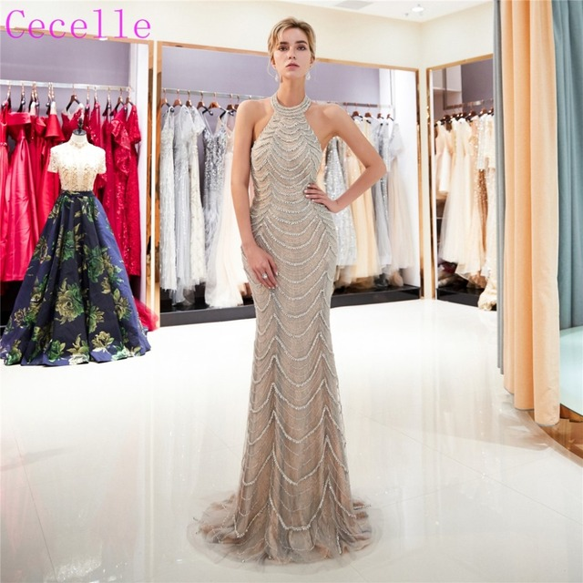 2216e544154ca Champagne Beading Mermaid long Prom Dresses 2019 Halter Low Back Short  Train Women Formal Evening Gown