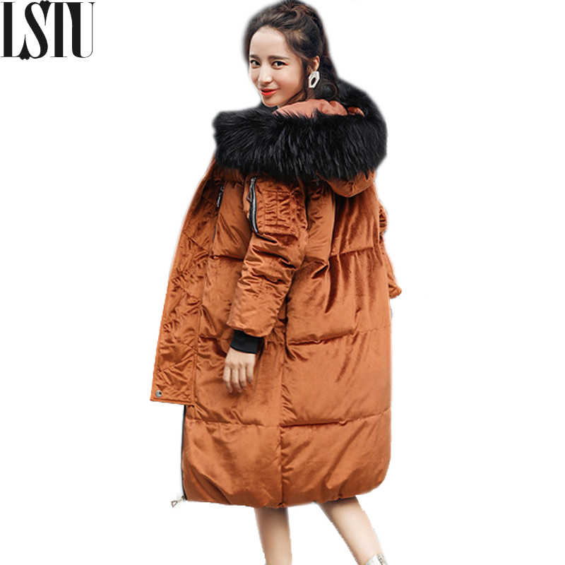 Lust 2017 New Winter Fashion Hooded Big Fur Collar Women Overcoat Keep Warm  Thick Parkas Vintage Casual Loose Ladies Outerwear lust caution 3001