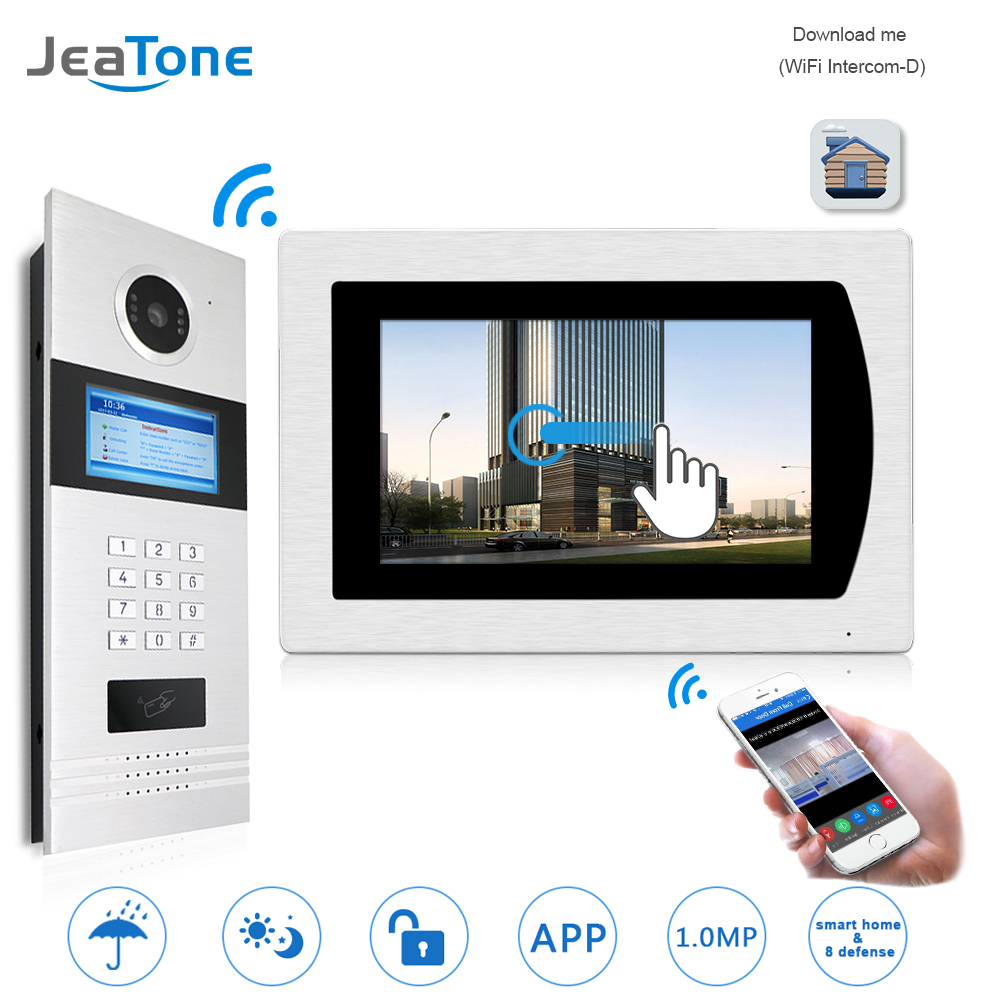 7''WIFI Video Door Phone IP Doorbell Intercom Touch Screen for Building Access Control System Support Password/IC Card/iOS Phone 7 inch password id card video door phone home access control system wired video intercome door bell