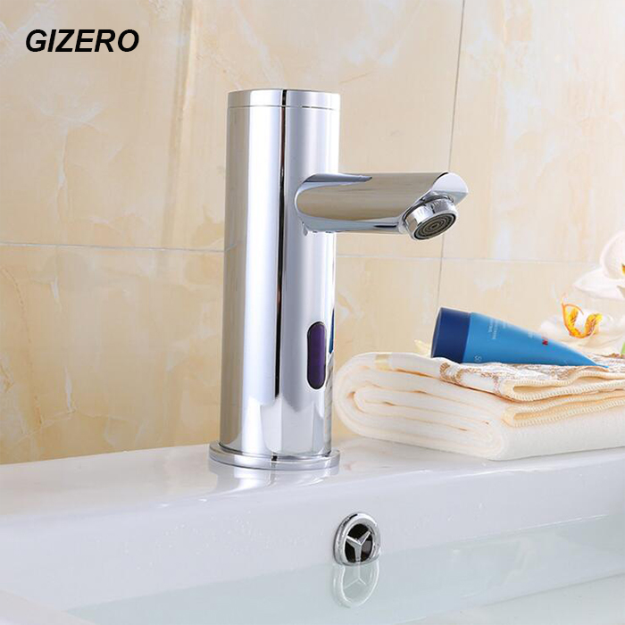 Single Cold Automatic Sensor Faucet DC Battery 6V Hands Free Touchless Deck Mounted Sink Sensor Taps torneira ZR1032 new deck mounted cold automatic sensor hands faucet chromed free bathroom sink tap cold only sensor faucet chrome for bathroom