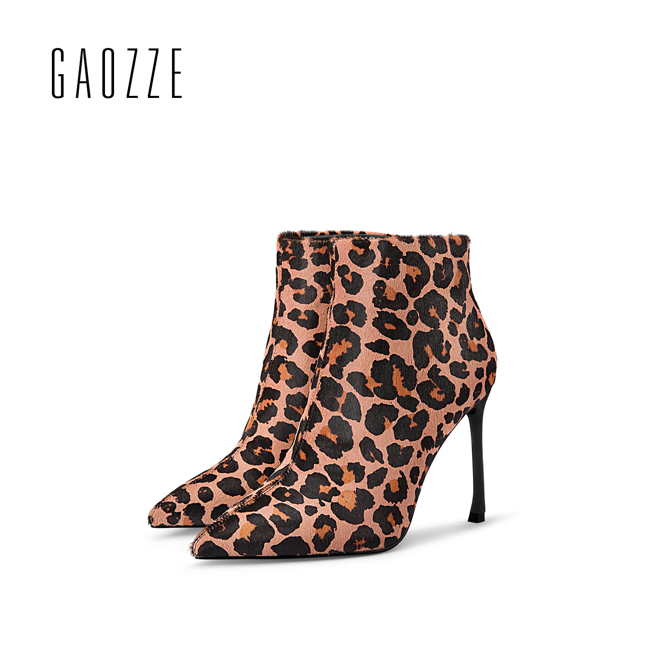 GAOZZE pointed toe sexy high-heeled ankle boots women leopard women's boots side zipper ankle boots luxury 2017 autumn new almond toe block heeled ankle boots