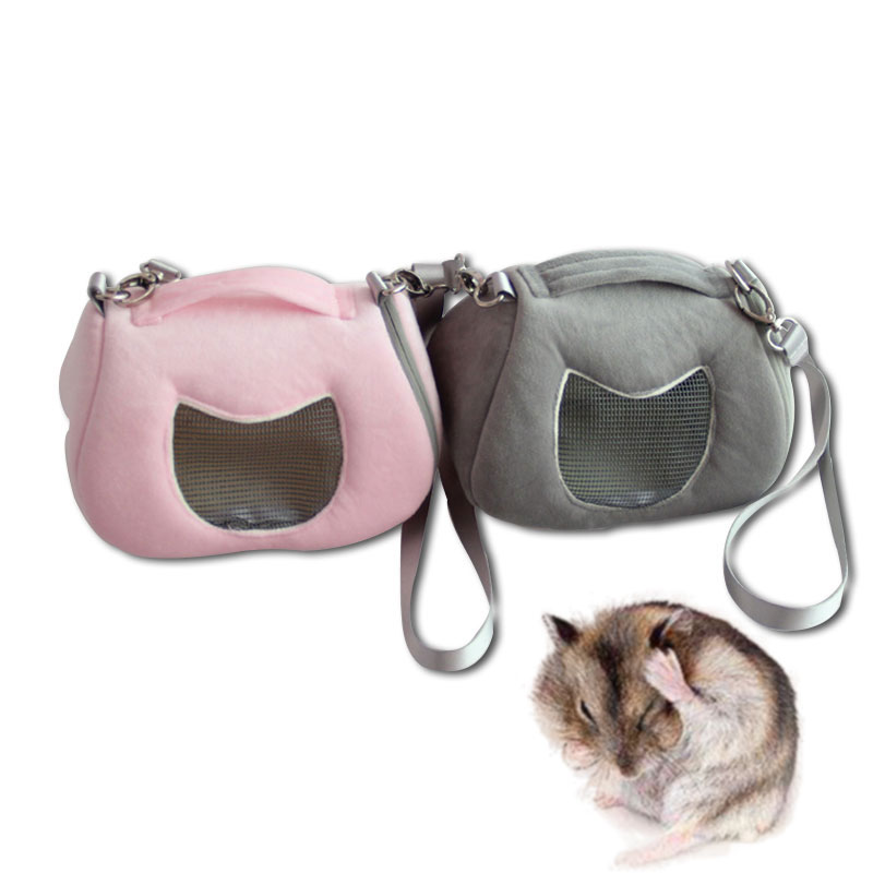 Cozy Small Pet Carrier Bag Guinea Pig Hamster Soft Fleece Mesh Breathable Outdoor Hedgehog Rabbit Carrier Bag For Small Breed