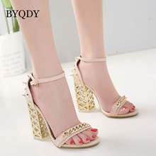 BYQDY Fashion Rivet Woman Sandals Clear Heel Crystal Buckle Strap Pumps Summer Gladiator Shoes Women zapatos mujer 2019