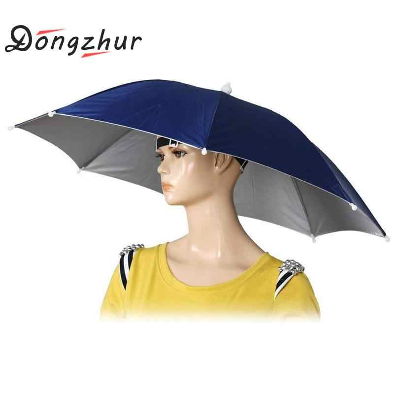 07b6bb4fb4b Foldable Umbrella Hat Fishing Hiking Camping Beach Headwear Sun Cap Head Hats  Outdoor Sport Fishing Tackle