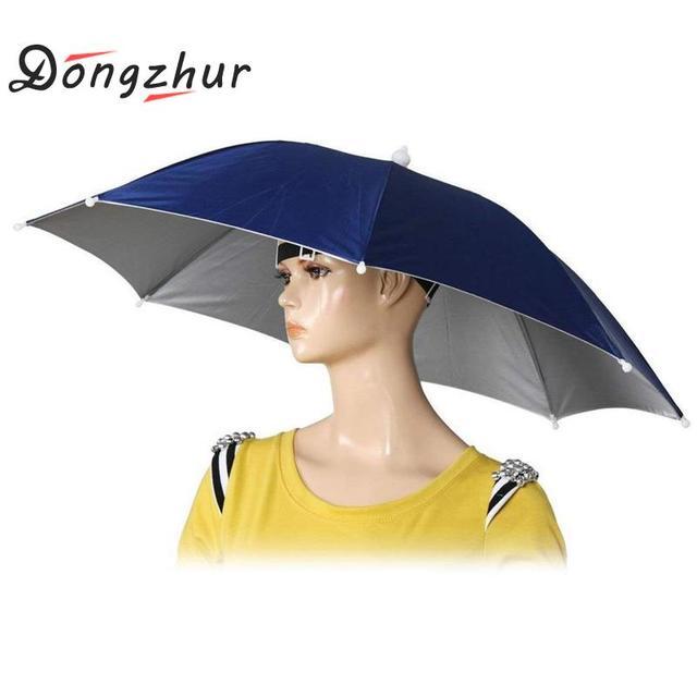 Foldable Umbrella Hat Fishing Hat Hiking Camping Beach Headwear Sun Cap Head Hats Outdoor Sport Fishing Tackle Accessory tool