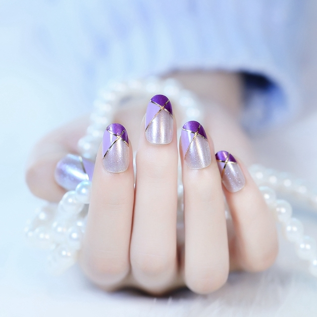 Elegant Oval Head French Nail Design Tips Purple Medium Press On ...