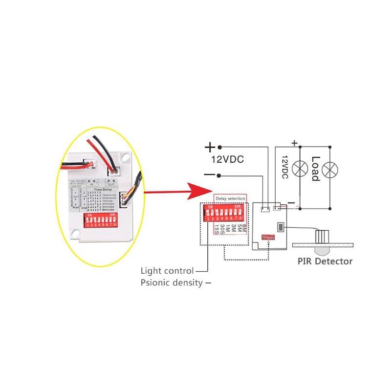pir motion sensor switch tdl-2012 ir infrared body induction detector 12vdc