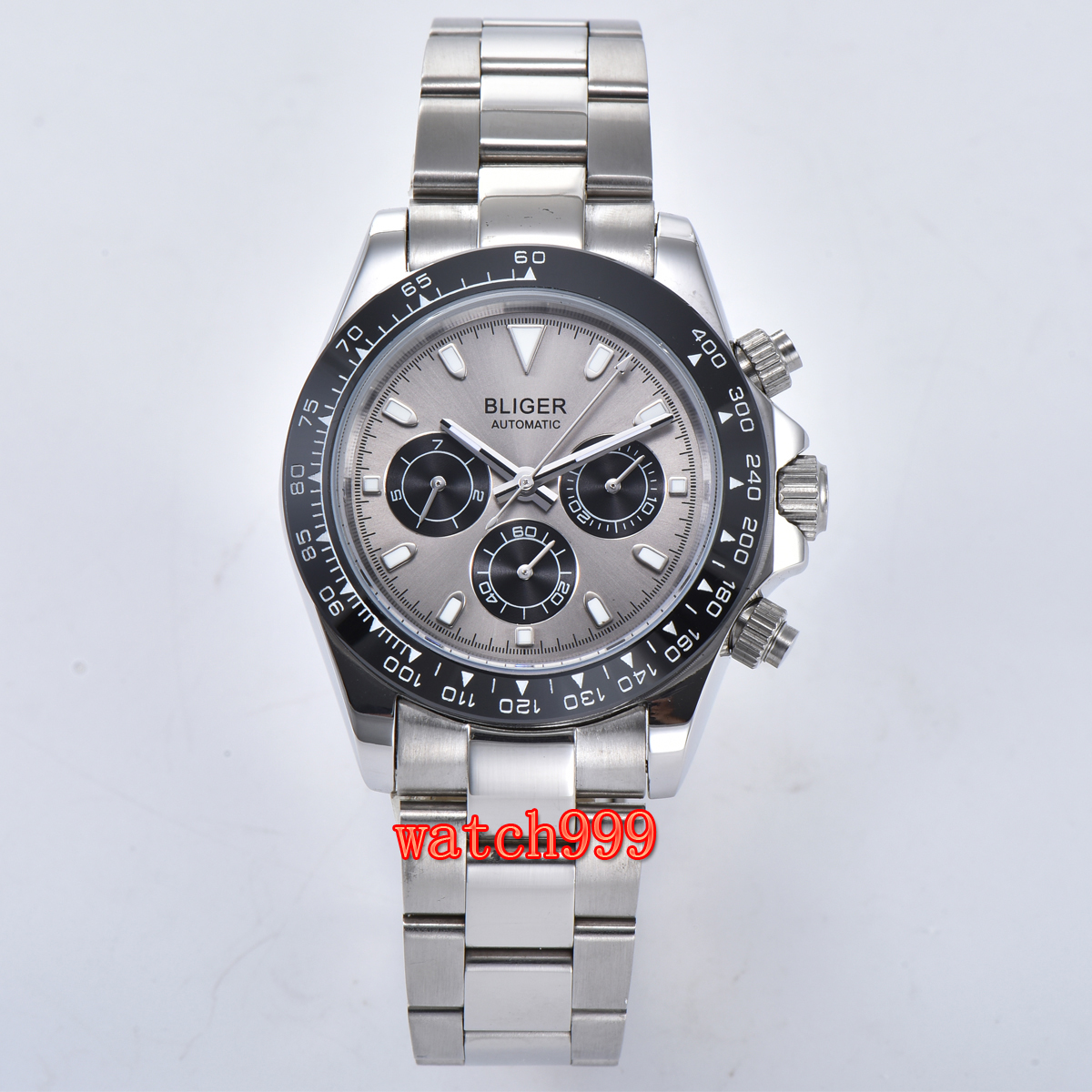 Image 2 - 39mm BLIGER gray dial mineral glass steel case automatic movement  mens casual watch steel strap waterproof mechanical watchMechanical  Watches