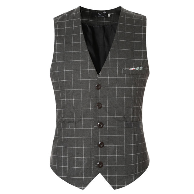 2016 New Men Suit Vest Brand Clothing Vintage Sleeveless Dress Man Business Blazer Tops Slim Fit Plaid Waistcoat Gentleman black
