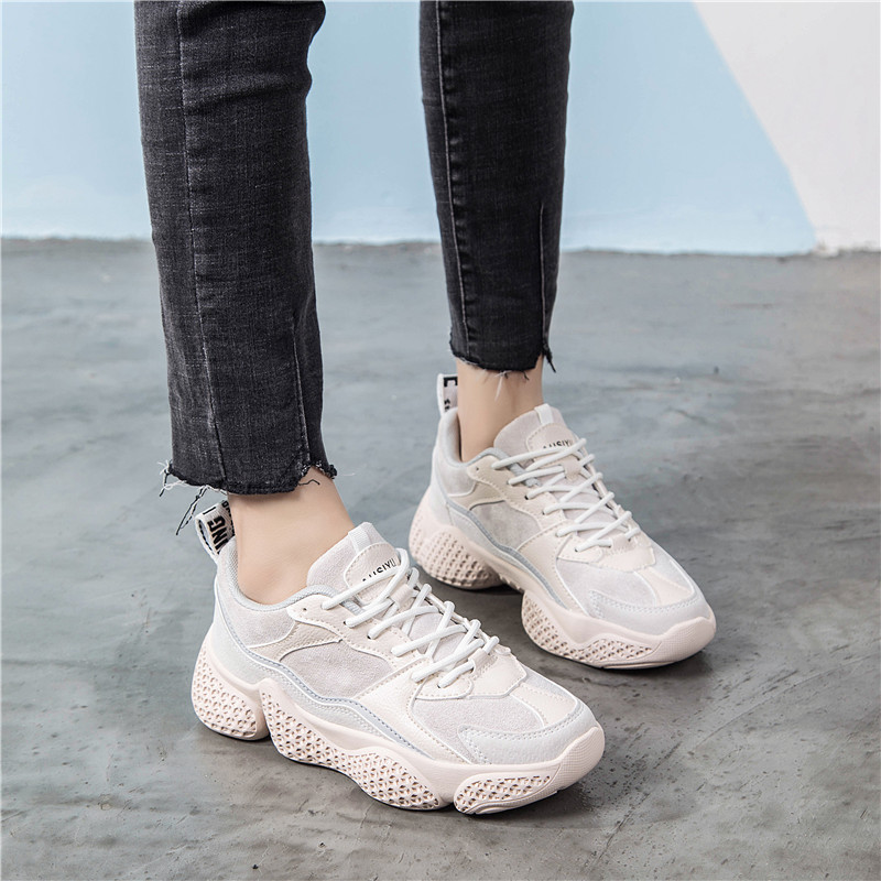 Women Casual Shoes Suede Leather Platform Shoes Women Sneakers Ladies Pink Trainers Baskets Femme Flatform Sneakers 2019 Spring