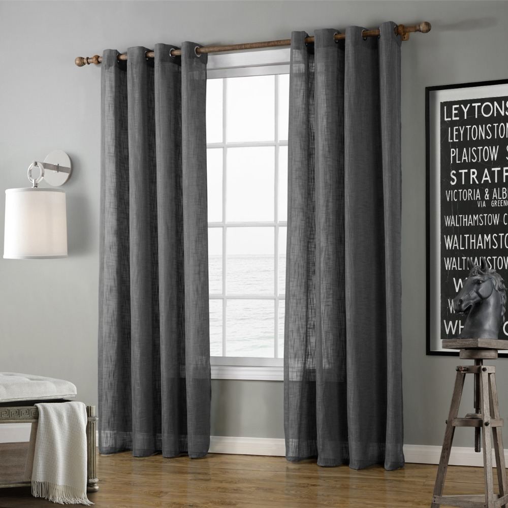 Eco Linen Soild Light Color Coffee Sheer Window Curtain for Living Room Balcony Chocolate Tulle ...