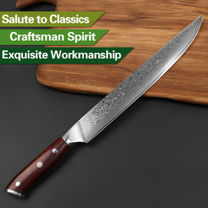 Image 5 - XINZUO 10 inch Cleaver Knife Japan Damascus Steel Professional Long Slicing Kitchen Knive Rosewood Handle Sushi Salmon Knives