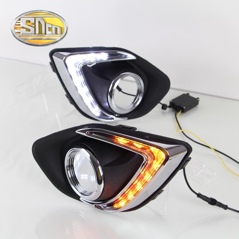 ФОТО For Mitsubishi ASX RVR 2013 2014 2015,Yellow Turning Signal Relay Waterproof 12V Car LED DRL Daytime Running Light Daylight SNCN