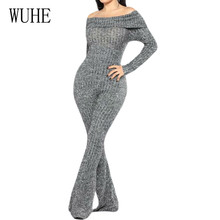 WUHE Rompers Women Jumpsuits Sexy Off Shoulder Long Sleeve Autumn Bodycon Bandage Playsuits Ladies Elegant High Quality Overalls