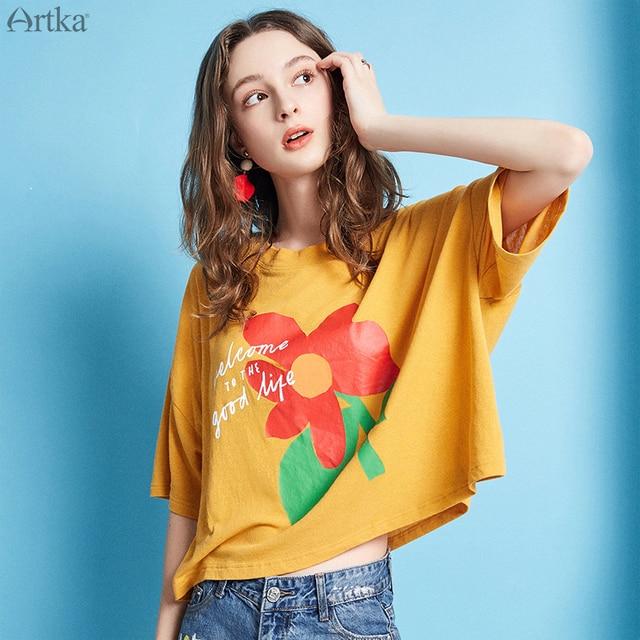 86c687940983 ARTKA 2019 Estate Casual Femminile T-Shirt Unico Posteriore Cinghia di  Disegno Del Fiore di Stampa O-Collo Sciolto Manica Corta T-Shirt Donne  TA10692X