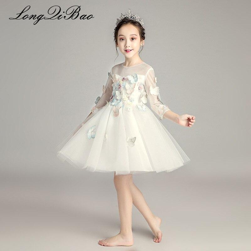 Fille papillon blanc fil à manches longues mariage fleur fille robe de princesse gonflée enfants piano costume robe de soirée automne et