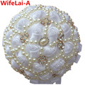 24cm Diameter Pure White Full Pearl Crystal Wedding Bouquets Satin Rose Bridesmaid&Bridal Artificial Rose Mariage Bouquets W226