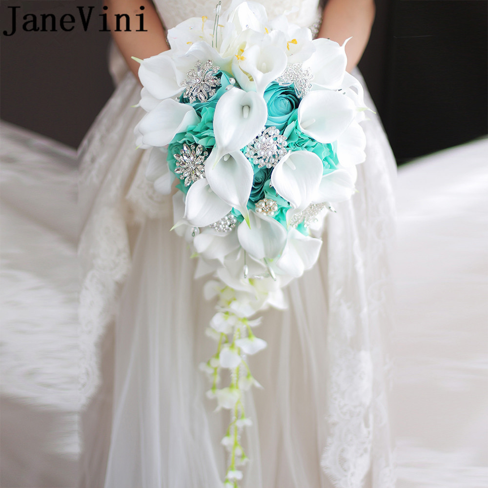 JaneVini Newest Pearl Waterfall Wedding Flower Bridal Bouquets Crystal Purple Artificial Rose Calla Lily Vintage Bride Bouquet