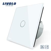 Livolo EU Standard VL C701SR 11 1Gang 2 Way Touch Remote Switch White Crystal Glass Panel