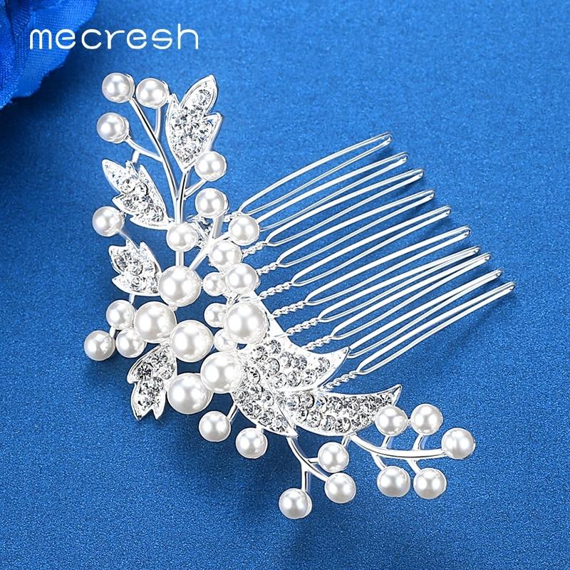 Mecresh Kryształowe ślubne akcesoria do włosów dla kobiet Srebrny - Modna biżuteria - Zdjęcie 4