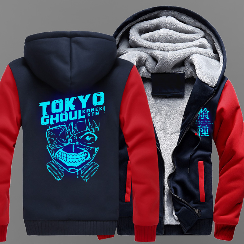 Dropshiping USA size Anime Tokyo Ghoul Ken Kaneki Cosplay Jacket Sweatshirts Thicken Hoodie Coat