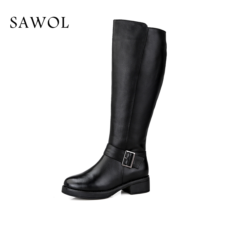 купить Genuine Leather Women Winter Boots Brand Women Winter Shoes High Quality Knee High Boots Women's Winter Shoes Natural Wool Sawol по цене 6051.78 рублей