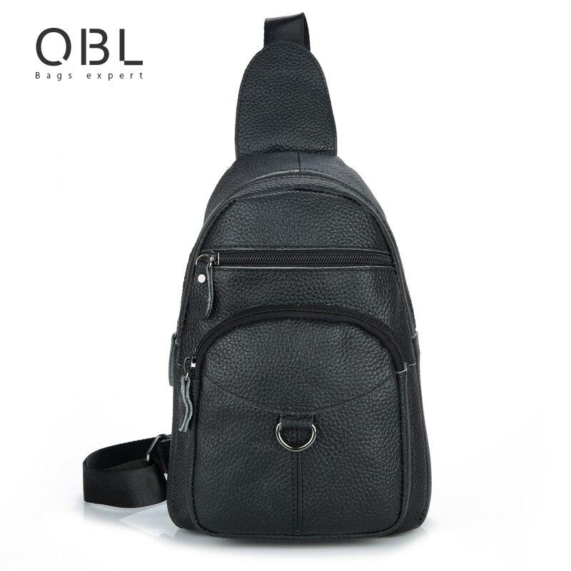 QiBoLu 2017 Mens Sling Bag Genuine Leather Single Shoulder Bag Men Chest Crossbody Bag Waist Pack for Man Bolsas Masculina MBA43