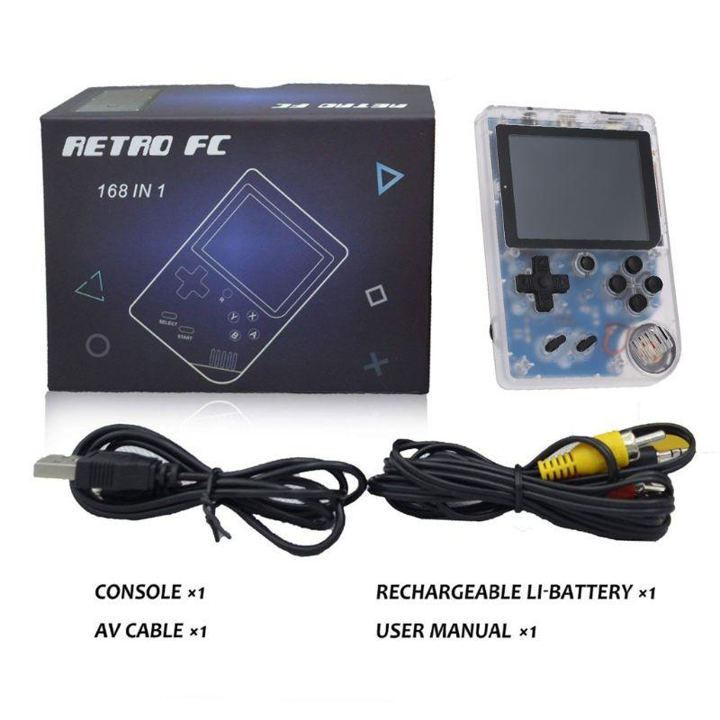 1 Set 3,0 Zoll 8 Bit Klassische Video Kinder Retro Mini Handheld Spielkonsole Spieler Eingebaute 168 Spiele Feine Verarbeitung