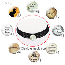 Lace Clavicle Necklace Were All Quite Mad Here Cheshire Cat Quote Alice In Wonderland Black Pendant Jewelry