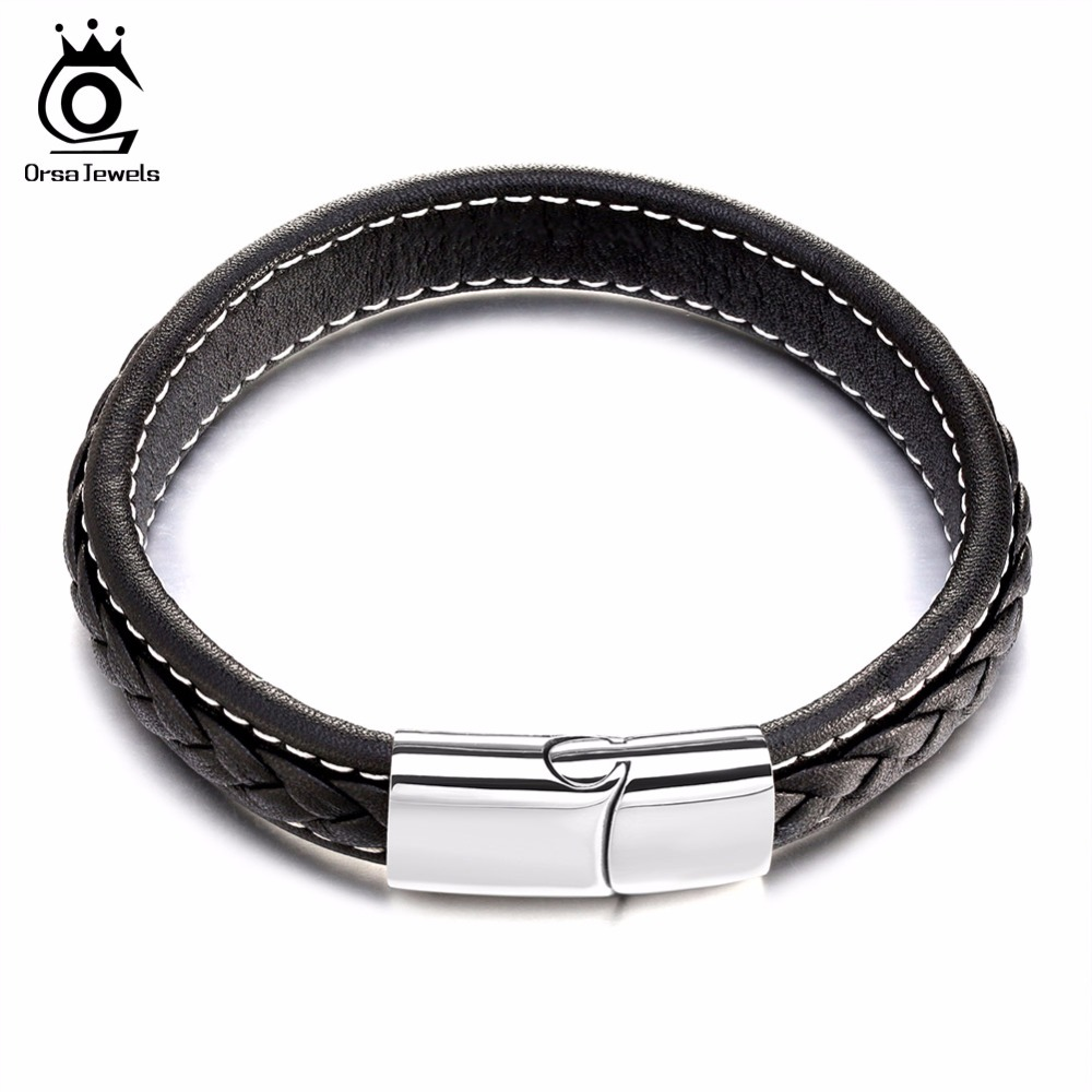 Orsa Jewels Genuine Leather Bracelet Men Stainless Steel Leather Braid  Bracelet With Magnetic Buckle Clasp Gtb50