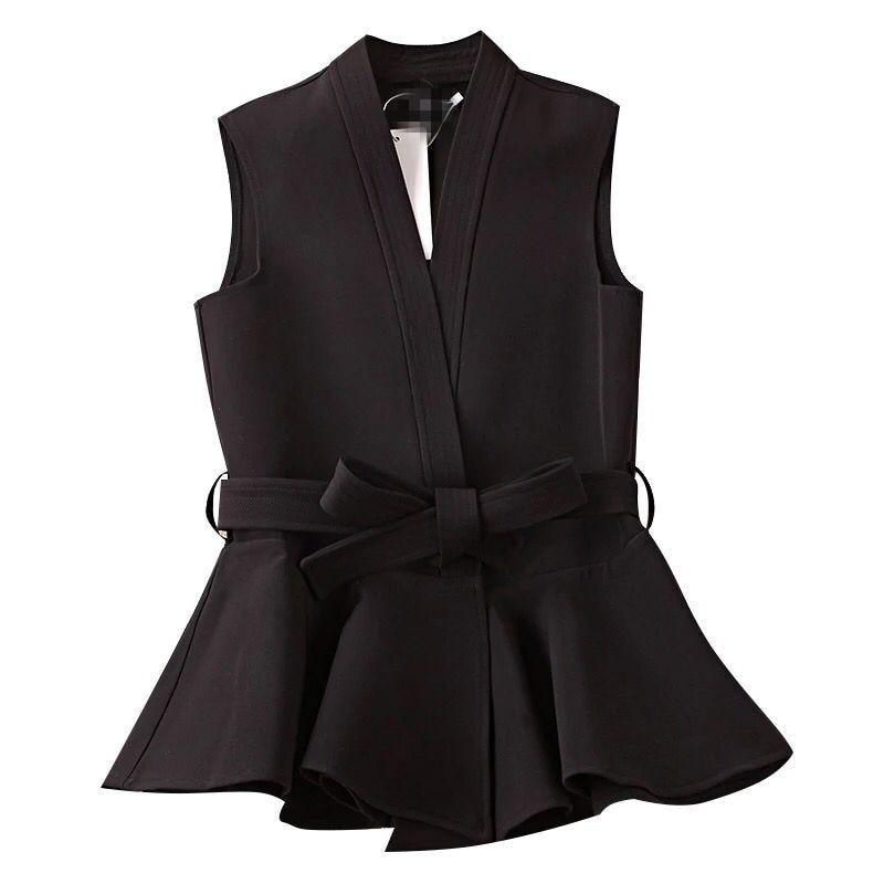 CHICEVER 2017 Autumn Waistcoat For Women Female Vest Lace Up Ruffles Slim Coats Sleeveless Plus Size Vest Coat Fashion Korean 1