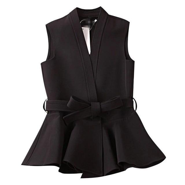 Autumn Vest Lace Up Ruffles Slim Sleeveless Plus Size Waistcoat 2