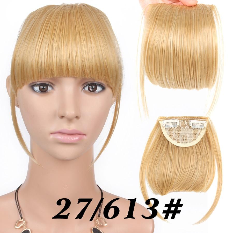 Alileader короткие передние аккуратные челки поддельные бахрома клип в наращивание волос с высокой температурой синтетическое волокно черный коричневый блонд - Цвет: 27-613