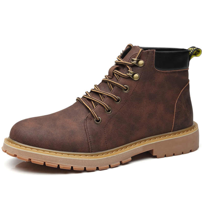 Erkek botları kış artı kadife sıcak moda çöl botları H-808