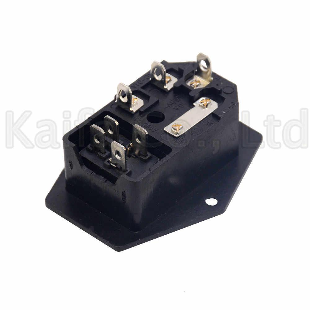 10A AC 250V 3 moc terminalu gniazdo z 10A uchwyt bezpiecznika przełącznik Rocker nowy zasilanie prądem zmiennym przewód wlotowy gniazdo wtykowe