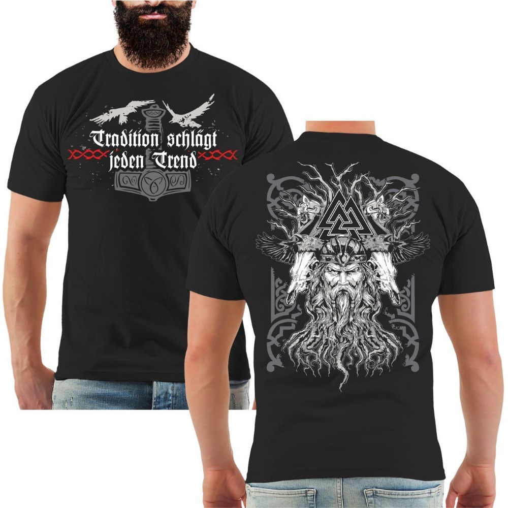 T-Shirt Tradition The Tree Of Life Teutons Germanic German Runes Vikings 2019 Summer Style High Quality Topst For Man Tee Shirt