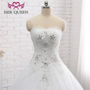 Image 3 - Kapalı omuz nakış dantel düğün elbisesi es güzel kristal boncuk topu cüppe şeklinde gelinlik düğün elbisesi moda kat uzunluk WX0006
