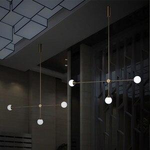 Image 1 - Nordic 3 Lights Art Style żyrandol do salonu światło Loft geometryczne jadalnia światło do pokoju oświetlenie do kawiarni z żarówkami Led