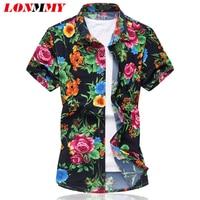 2016 Summer Mens Floral Shirts Silk Cotton Short Sleeve Mens Dress Shirts High Quality Slim Flower