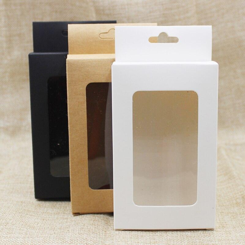 50pcs per lot whiteblackkraft paper hanger window box for productsfavors display popular cardboard phone case boxes package