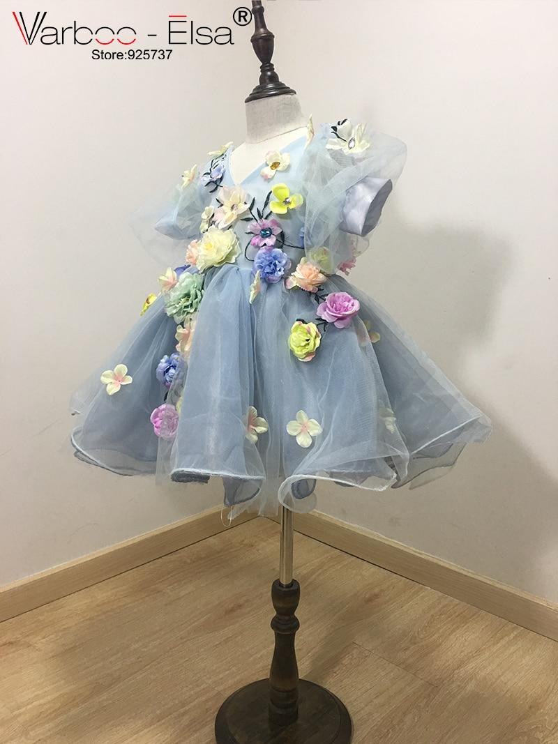 VARBOO_ELSA 2017 Flower Girls Jurken voor bruiloften custom Blue - Bruiloft feestjurken - Foto 3