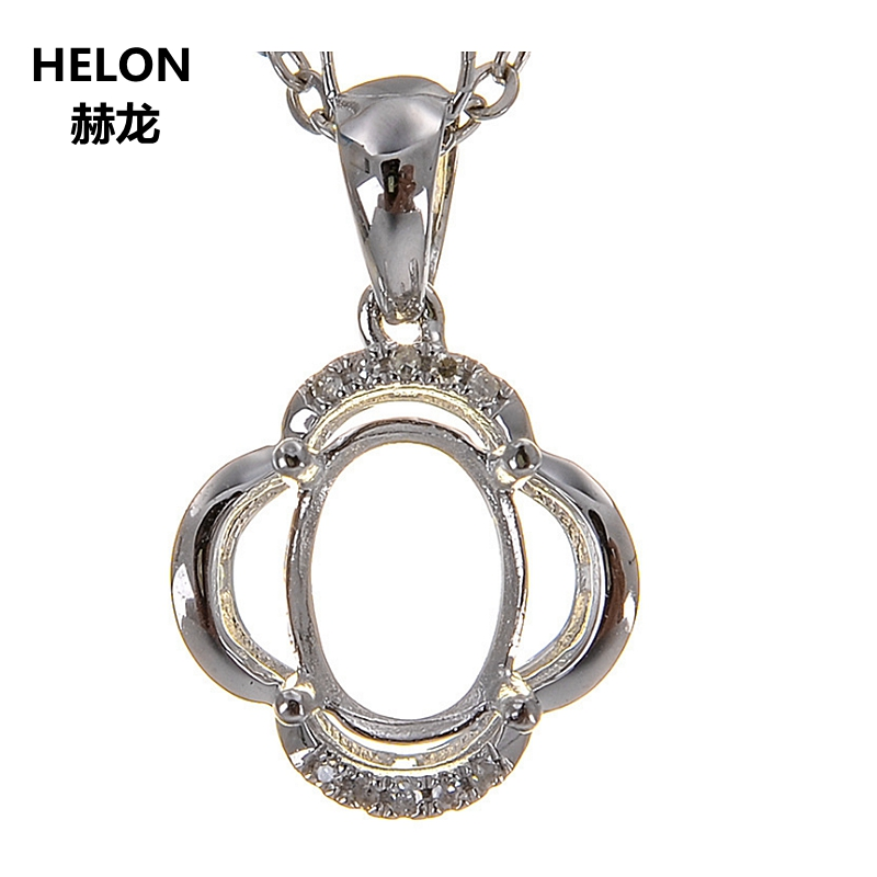 Solid 14k White Gold Natural Diamonds Women Pendant 6x8mm Oval Cut Semi Mount Pendant Setting Yellow Rose Gold Optional