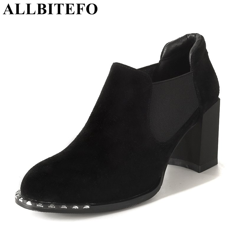 ALLBITEFO fashion brand Nubuck leather rivets high heels women pumps thick heel high quality spring pumps office ladies shoes luxury brand crystal patent leather sandals women high heels thick heel women shoes with heels wedding shoes ladies silver pumps
