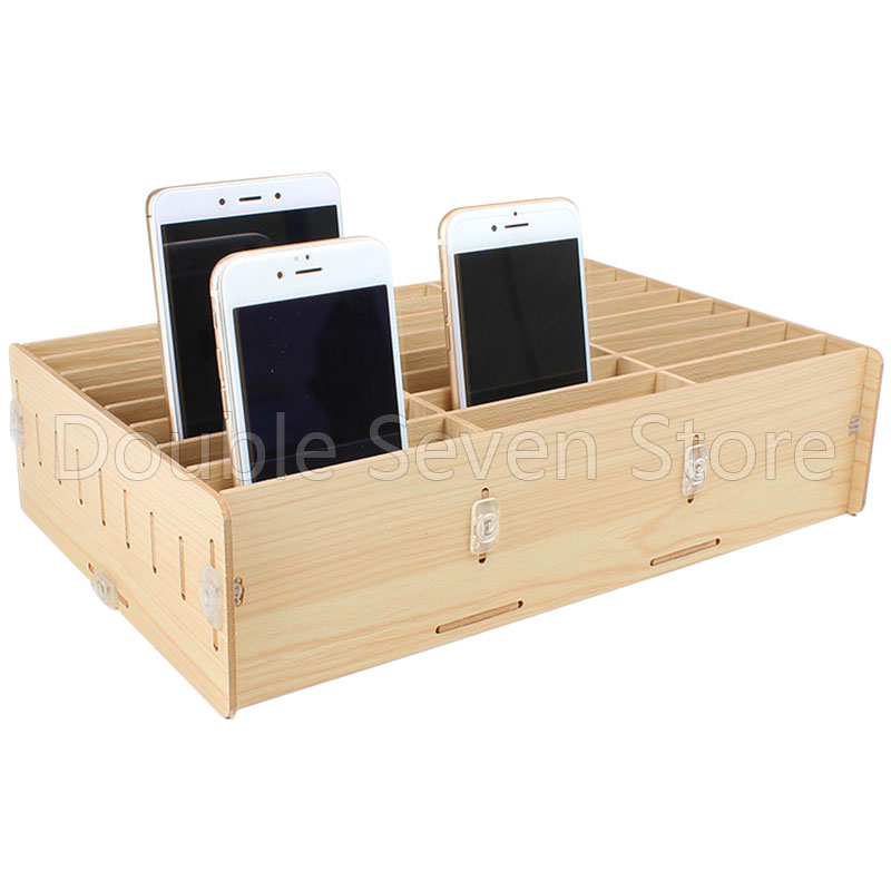 Wooden Mobile Phone Management Storage Box Desktop Office Meeting Finishing Grid Multi Cell Invitation Card Rack Shop Display