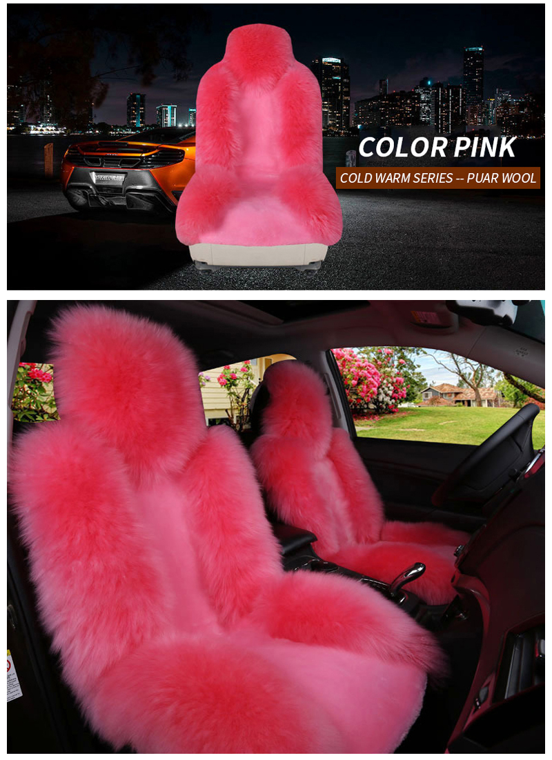 Car Seat Cover Long Wool Winter Universal Sheepskin Faux Fur Front