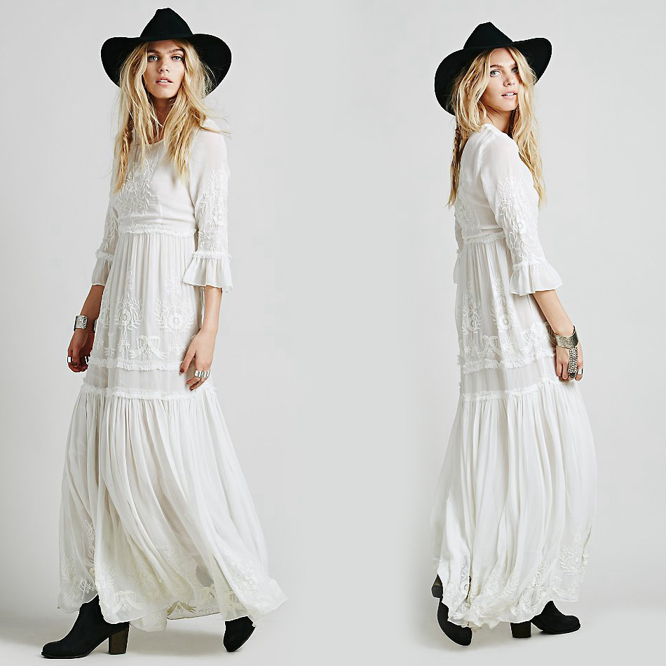 Bohemian Embroidery   Women boho dress Long maxi Dress Black white dress With Long Sleeve Female chic vestidos brand clothing