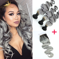 New Fashion Silver Grey Hair Extensions Dark Root 8A Brazilian Virgin Hair Body Weave 3 Pcs Ombre Grey Hair Weave With 1 closure