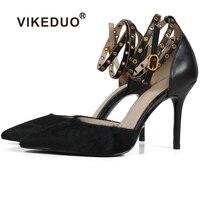 Vikeduo Handmade Pointed Toe Black Luxury Fashion Party Wedding Dress Shoe Original Genuine Leather Women Thin High Heel Shoes